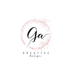 Handwritten ga g a letter logo with sparkling vector
