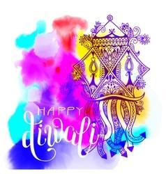 Happy Deepawali watercolor greeting card to indian vector