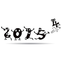 Happy New Year 2015 - cartoon style vector image