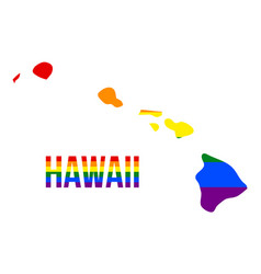 Hawaii state map in lgbt rainbow flag comprised vector