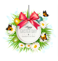 Holiday background with colorful easter eggs vector