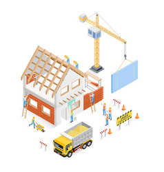 home construction isometric building vector image