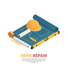 home renovation isometric composition vector image