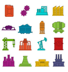 Industry icons doodle set vector