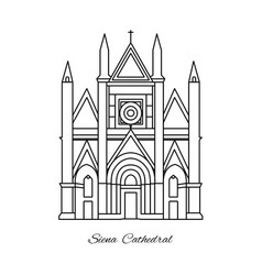 Italy siena cathedral line vector