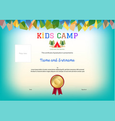Summer camp certificate vector images 35 kids summer camp diploma or certificate template vector yelopaper Image collections