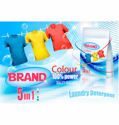 Laundry detergent ad colorful clothes hanging on vector