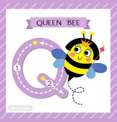 Letter q uppercase tracing happy queen bee vector