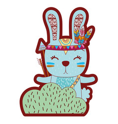 Line color ethnic rabbit animal in back of bushes vector