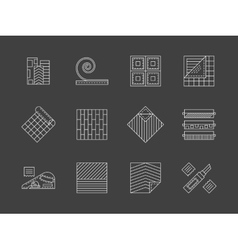 Linoleum flooring white line icons set vector image