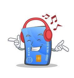 Listening music credit card character cartoon vector