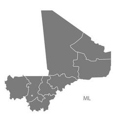 mali regions map grey vector image