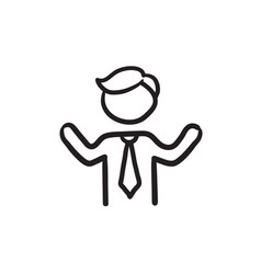 man with raised arms sketch icon vector image