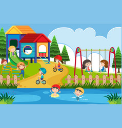 many children playing in the playground at day vector image