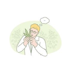 Marijuana research medical science concept vector