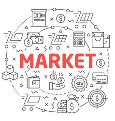 market linear slide for the vector image