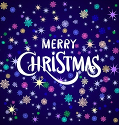 merry Christmas greeting card blue 2016 vector image