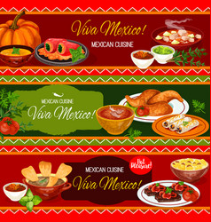 Mexican cuisine restaurant banner with dinner dish vector