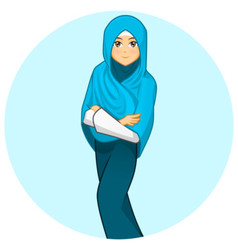 Modern Muslim Woman with Folded Arms Wearing Blue vector image