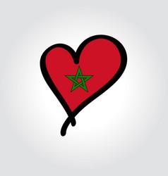 Moroccan flag heart-shaped hand drawn logo vector