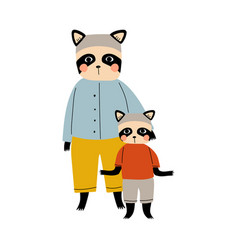 mother raccoon and her kid loving parent animal vector image