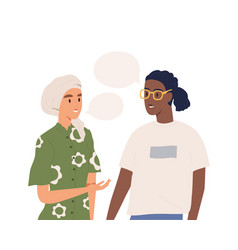 Multinational couple talking together isolated on vector