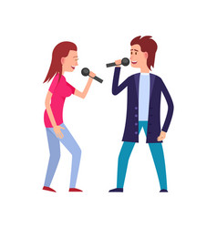 musicians singing with microphone isolated vector image