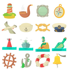 Nautical sea icons set cartoon style vector