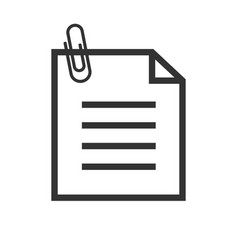 note with attached paperclip and text icon vector image