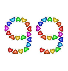 number 99 ninety nine of colorful hearts on white vector image