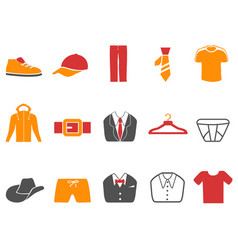 orange red color series men fashion icons set vector image