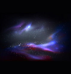 Outer space and galaxy cosmos panorama vector
