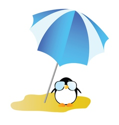 Penguin on a desert island art vector