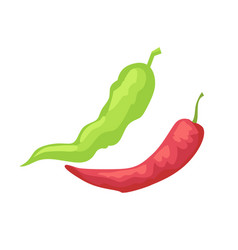 pepper pods isolated icon in cartoon style vector image