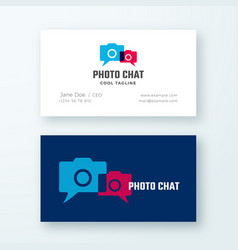 photo chat abstract logo and business card vector image