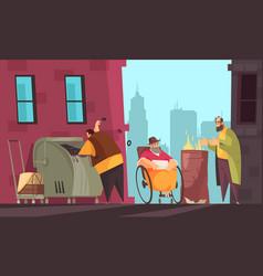 Poor people banner vector