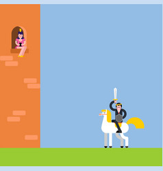 princess in tower and prince on white horse kings vector image