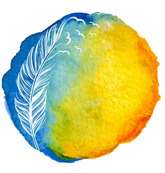 Quill with birds in watercolor circle vector image