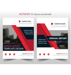 red abstract triangle annual report brochure vector image