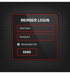 red member login ui on black background vector image
