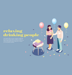 relaxing people poster vector image