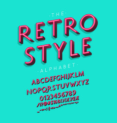retro style font and alphabet with numbers vector image