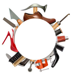 Round empty frame with shoemaker tools vector