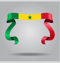 senegalese flag wavy ribbon background vector image