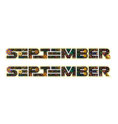 september word decorated with flowers and leaves vector image