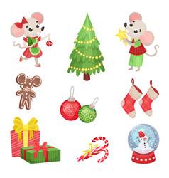 Set new year and christmas symbols vector
