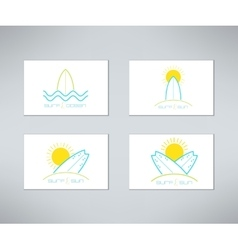 Set of surfing cards logo design made in vector image