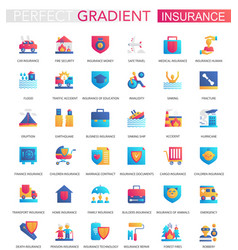 set trendy flat gradient insurance icons vector image