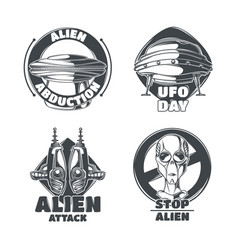 set ufo emblems vector image