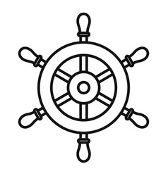 Ship steering wheel icon outline style vector